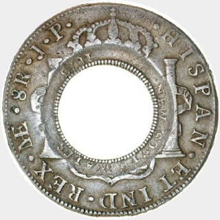 1813 Worn | Lima Holey Dollar reverse