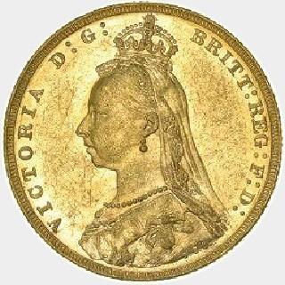 1891-M Short Tail Full Sovereign obverse