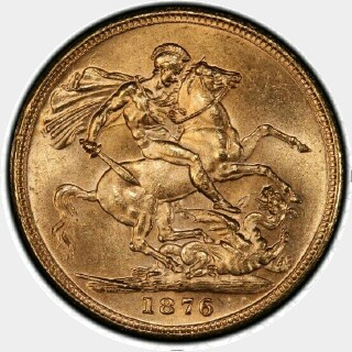 1876-M Narrow Truncation Long Tail Full Sovereign reverse