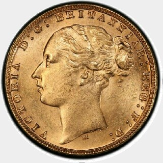 1876-M Narrow Truncation Long Tail Full Sovereign obverse