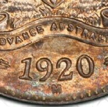 Melbourne 'M' mint-mark on the reverse of a 1920-M Threepence.