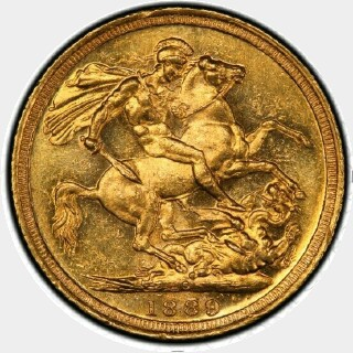 1889-S Small Head Full Sovereign reverse
