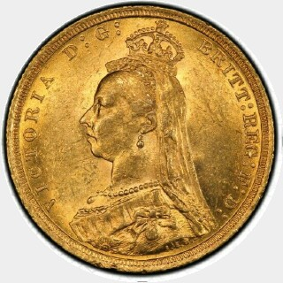 1889-S Small Head Full Sovereign obverse