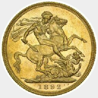 1893-M Proof Full Sovereign reverse