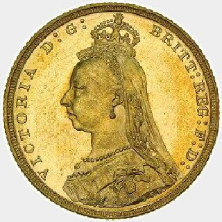 1893-M Proof Full Sovereign obverse