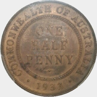1933/2 Overdate Half Penny reverse