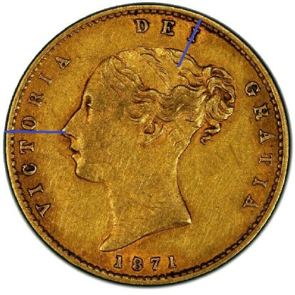 Type I Obverse: tip of nose lines up with left long-side of 'O', 'I' lines up with crown of head