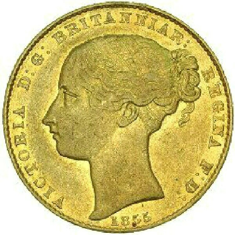Type I obverse (this type) 1853 pattern, 1855-6: Queen Victoria's portrait wears a fillet in her hair.