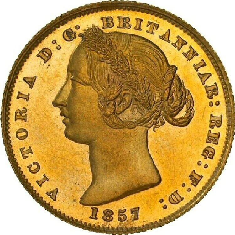 Type II (this type) obverse (1855-70): Queen Victoria's portrait wears a wreath made from banksia leaves, and her hair is in a knotted braid.
