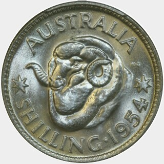 1954  One Shilling reverse