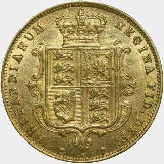 1887-S Crenulated Reverse Half Sovereign reverse