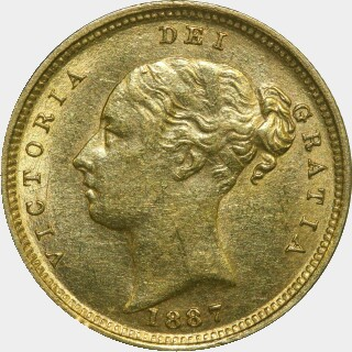 1887-S Crenulated Reverse Half Sovereign obverse