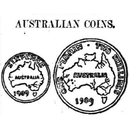 Depictions of the Florin and Sixpence designs displayed in the Sunday Times on the 29th of August 1909.
