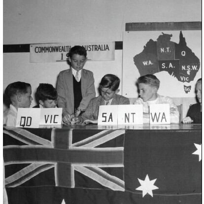 Children of the Nijimura School in Japan re-enacting the Signing of the Australian Constitution during jubilee celebrations.