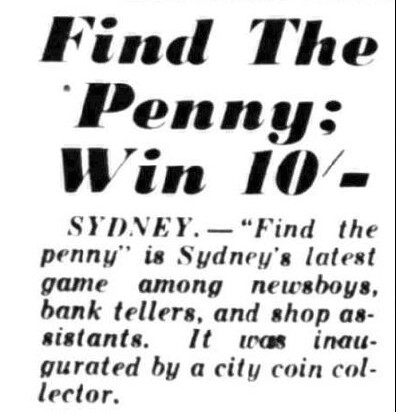 """""""Find the Penny"""" - Article in the 'News', 26th May 1945."""