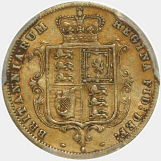 1880-S Crenulated Reverse Low Relief Half Sovereign reverse