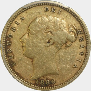1880-S Crenulated Reverse Low Relief Half Sovereign obverse