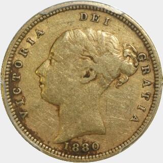 1880-S Crenulated Reverse Low Relief Half Sovereign obverse