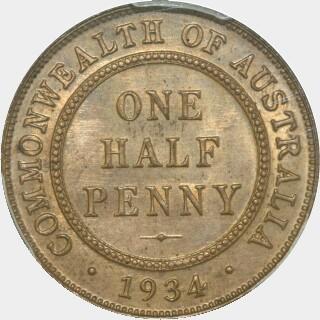 1934 Proof Half Penny reverse