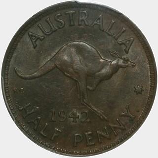 1942-I Long Reverse Denticles Half Penny reverse