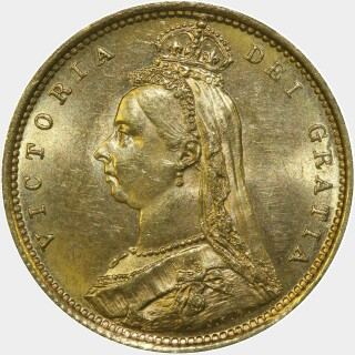 1887-S Wide JEB Half Sovereign obverse