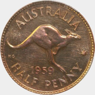 1959 Proof Half Penny reverse