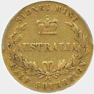 1858 SOVRR Half Sovereign reverse