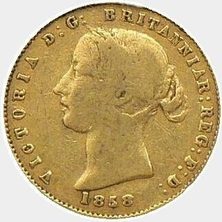 1858 SOVRR Half Sovereign obverse
