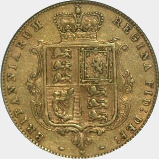 1884-M Low Relief Half Sovereign reverse