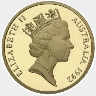 1992 Matte Proof Five Dollar obverse