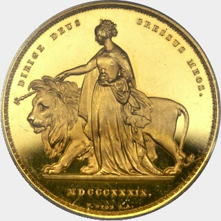 1839 Proof Five Pound reverse