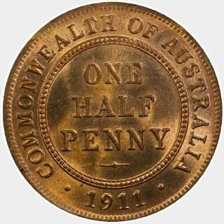 1936 Proof Half Penny reverse
