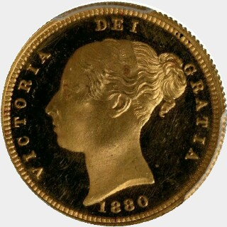 1880-S Proof Half Sovereign obverse
