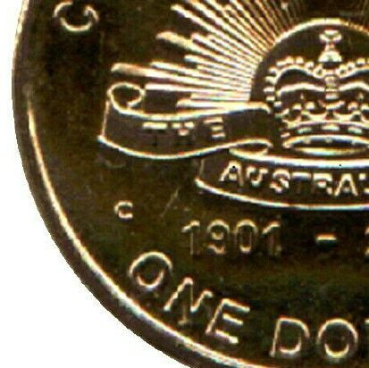 Canberra (C) mint-mark on 2001-C (Australian Army) one dollar piece.