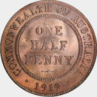 1914-H Proof Half Penny reverse