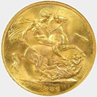 1886-S Wide Truncation Short Tail Full Sovereign reverse