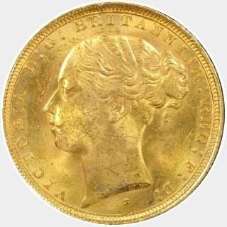 1886-S Wide Truncation Short Tail Full Sovereign obverse