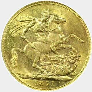 1871-S Narrow Truncation Large Initials Short Tail Full Sovereign reverse