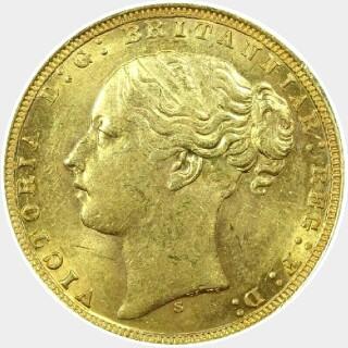 1871-S Narrow Truncation Large Initials Short Tail Full Sovereign obverse