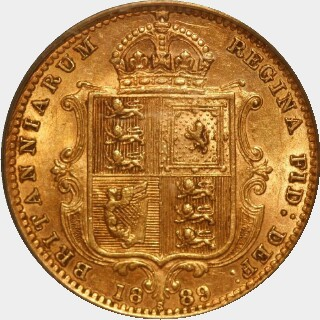 1889-S 13 pearls Half Sovereign reverse