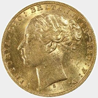 1872-S Narrow Truncation Long Tail Full Sovereign obverse