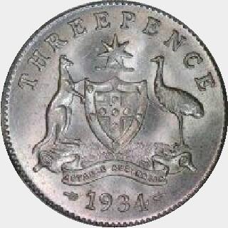 1925 Proof Threepence reverse