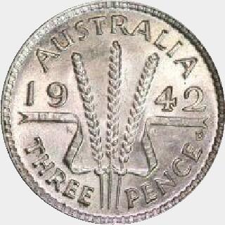 1937 Uniface Pattern Threepence reverse