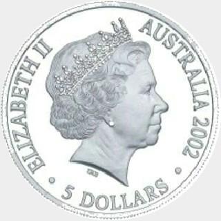 2002 Proof Five Dollar obverse