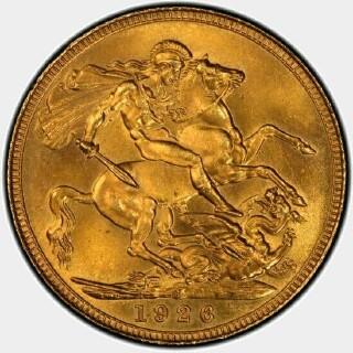 1926-S Specimen Full Sovereign reverse