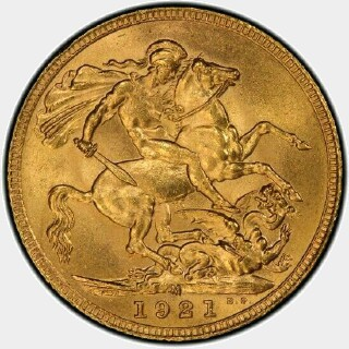 1921-M  Full Sovereign reverse