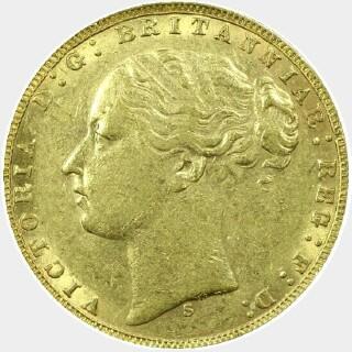 1873-S Narrow Truncation Long Tail Full Sovereign obverse