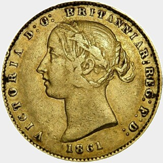 1861 Alternate Reverse Half Sovereign obverse