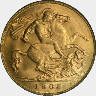 1909-M  Half Sovereign reverse