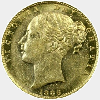 1886-M  Full Sovereign obverse